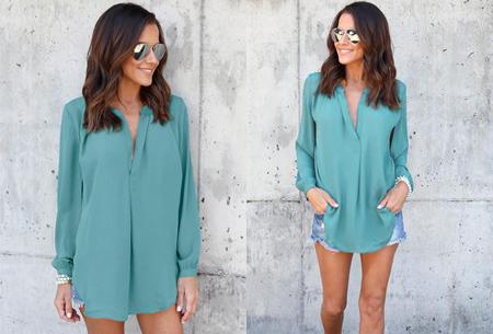 Elegance blouse   Lang & oversized model voor een stijlvolle look lichtblauw