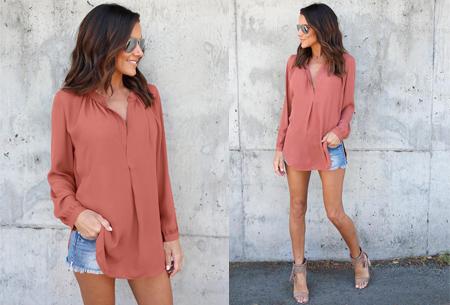Elegance blouse   Lang & oversized model voor een stijlvolle look oudroze