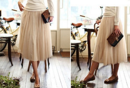 Beige - Petticoat rok