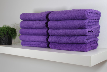 3-pack handdoeken of badhanddoeken 100% katoen hotelkwaliteit | Met oplopende korting! Paars