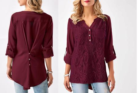 Lace V-neck blouse - Maat L - Wijnrood