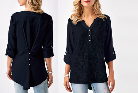 Lace V-neck blouse - Maat S - Navy