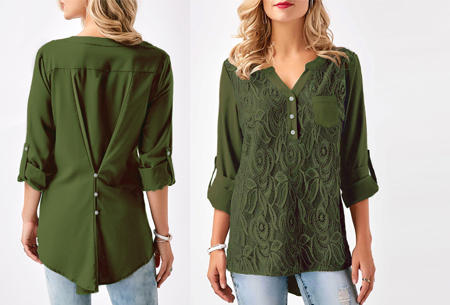 Lace V-neck blouse - Maat M - Legergroen