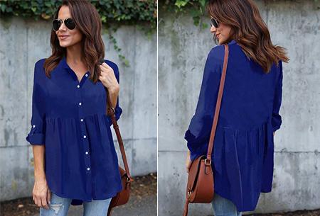 Peplum blouse | Helemaal on trend & voor elk figuur! blauw