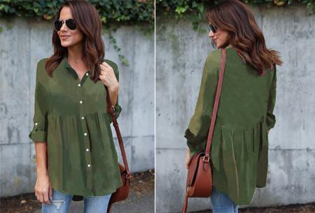 Peplum blouse | Helemaal on trend & voor elk figuur! legergroen