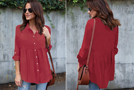 Peplum blouse | Helemaal on trend & voor elk figuur! wijnrood