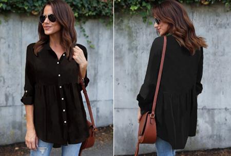 Peplum blouse - Maat 2XL - Zwart