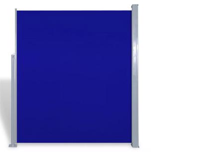 Uitschuifbaar wind- en zonnescherm 160 of 180 x 300 of 600 cm   Ideaal voor tuin of balkon Blauw