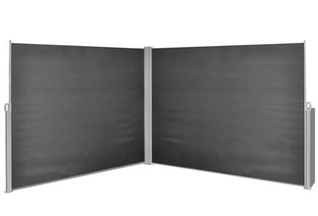 Uitschuifbaar wind- en zonnescherm 160 of 180 x 300 of 600 cm   Ideaal voor tuin of balkon Zwart dubbel