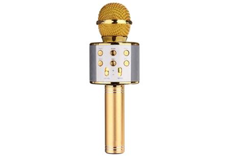 Karaoke microfoon | Draadloos & geschikt voor heel veel zangplezier  goudkleurig
