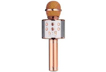 Karaoke microfoon | Draadloos & geschikt voor heel veel zangplezier  roségoudkleurig