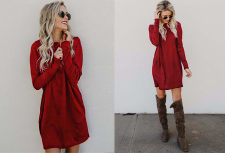 Soft sweater dress | Comfortabel & stijlvol wijnrood