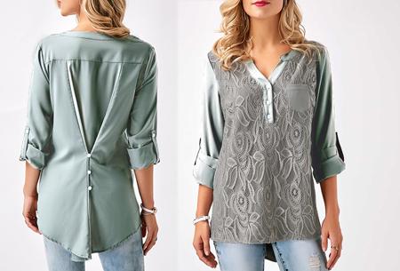 Lace V-neck blouse - Maat L - Grijs