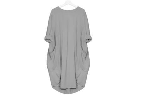Comfy pocket dress Maat S - Grijs