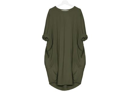 Comfy pocket dress Maat M - Legergroen