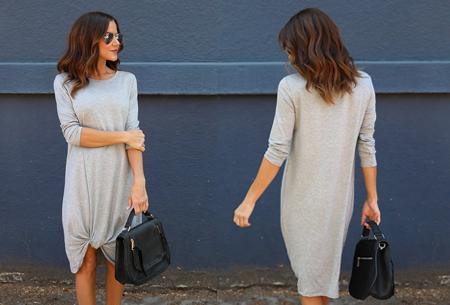 Knotted maxi jurk | Comfortabele musthave voor dit seizoen Grijs