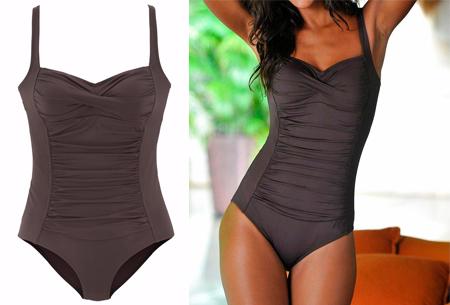 Summer Shape badpak | Stijlvol & vrouwelijk badpak met een figuurcorrigerend effect coffee