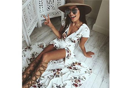 Boho v-neck dress | Voor een zomerse bohemian look
