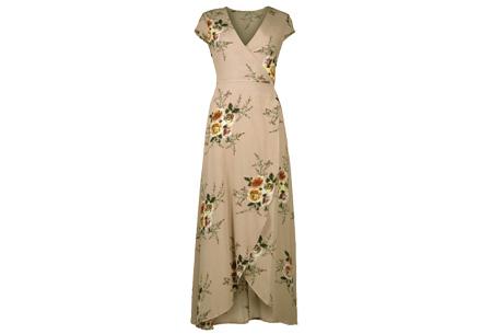 Boho v-neck dress | Voor een zomerse bohemian look Khaki