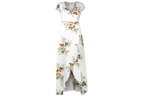 Boho v-neck dress - Maat XL - Wit
