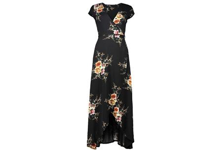 Boho v-neck dress | Voor een zomerse bohemian look Zwart