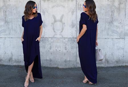 Stylish maxi jurk Maat 2XL - Navy - Korte mouwen