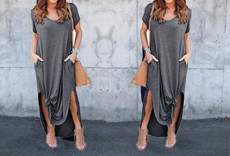 Stylish maxi jurk Maat L - Donkergrijs - Korte mouwen