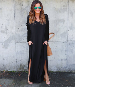 Stylish maxi jurk Maat L - Zwart - Lange mouwen