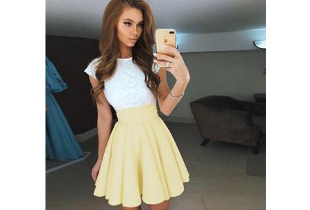Summer lace dress Maat XL - Geel