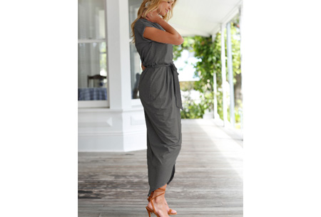 Gorgeous maxi jurk | Basic met sexy touch donkergrijs