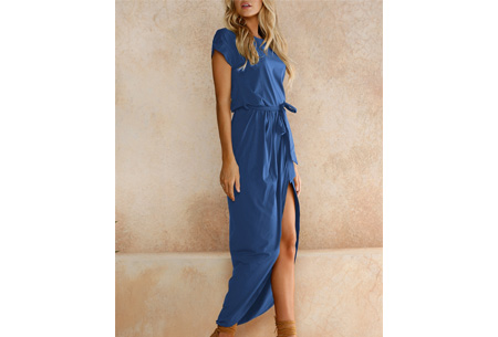 Gorgeous maxi jurk | Basic met sexy touch blauw