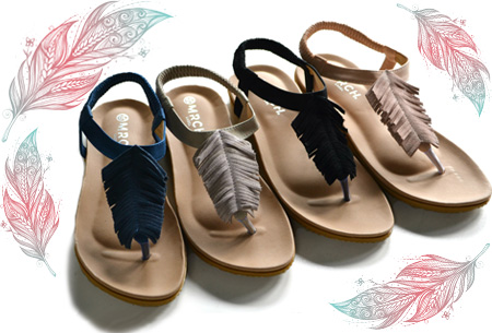 Boho feather slippers in de aanbieding