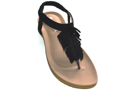 Boho feather slippers | Wannahaves voor deze zomer! Zwart