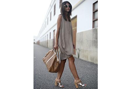 Oversized chiffon jurk | Luchtig en stijlvol khaki