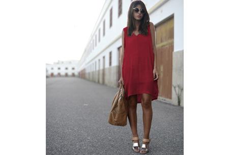 Oversized chiffon jurk - Maat XL - Wijnrood