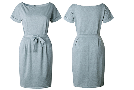 Basic Wrap dress | Elegante en comfortabele basic van dit seizoen Lichtgrijs