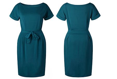 Basic Wrap dress | Elegante en comfortabele basic van dit seizoen Petrol