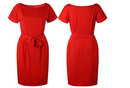 Basic Wrap dress | Elegante en comfortabele basic van dit seizoen Rood