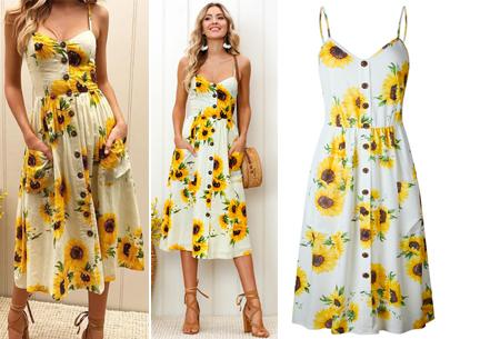 Button jurk | Keuze uit 18 prachtige prints of effen kleuren! Maten S t/m 3XL #K