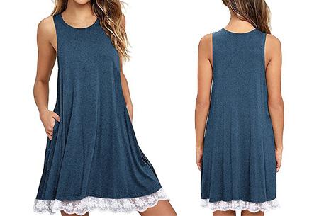 Lace dress   Comfortabele en luchtige zomer jurk met kanten details Blauw