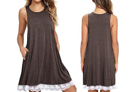 Lace dress   Comfortabele en luchtige zomer jurk met kanten details Coffee