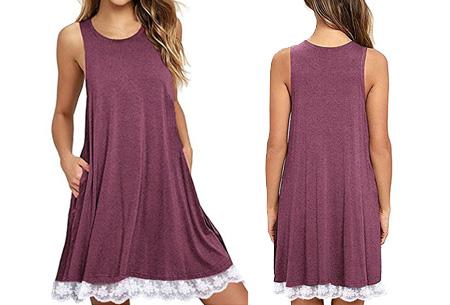 Lace dress   Comfortabele en luchtige zomer jurk met kanten details Framboos