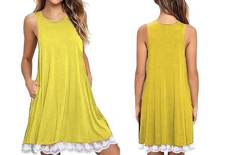 Lace dress   Comfortabele en luchtige zomer jurk met kanten details Geel