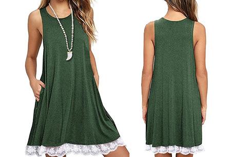 Lace dress   Comfortabele en luchtige zomer jurk met kanten details Groen