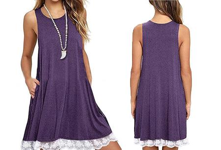 Lace dress   Comfortabele en luchtige zomer jurk met kanten details Paars