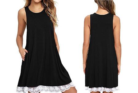 Lace dress   Comfortabele en luchtige zomer jurk met kanten details Zwart