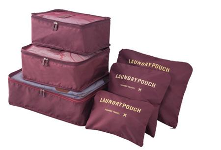 Packing cubes   Je koffer overzichtelijk ingepakt met deze ruimtebesparende bagage organizers! Wijnrood