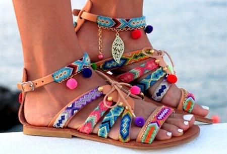 Boho Pompom slippers
