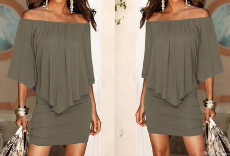 Off shoulder jurk | Voor een chique look met een sexy twist Army groen