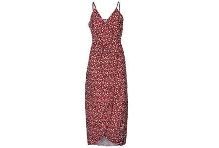 Printed wrap dress | Stijlvolle jurk met een sexy touch Rood